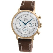 Davis 1926 メンズ医者レトロ腕時計 Mens Rose Gold Doctor Retro Watch- Silver Dial- Day/Date- Pulsometer -Brown...