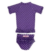 RuffleButts ラッフルバッツ UPF50+ ラッシュガード Grape Polka Dot Ruffled Rash Guard Bikini (18-24m(80), Grape...