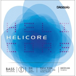 D'Addario ダダリオ ウッドベース(コントラバス)弦 H614 3/4M Helicore Orchestral Bass Strings / E-nickel 【国内正規品】