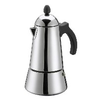 GAT Eterna - Stove Top Espresso Maker - Induction Suitable - Stainless Steel with Black Handle and...