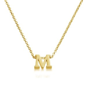 Initial Letter M Personalized Serif Font Pendant Necklace 14k Plated or 925 Sterling Silver (gold...
