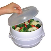 """Poker 83-5001V 9-1/2"""" Dia x 3-3/4"""" H 2 Tier Microwave Steamer Food Cooker - As Seen on TV"""