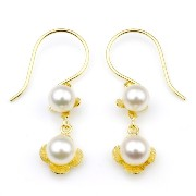 nadi 3.5-4.0mm K18YG アコヤ本真珠 ベビーパール 花ピアス Akoya Cultured Baby Pearl 18K yellow gold earrings Flower