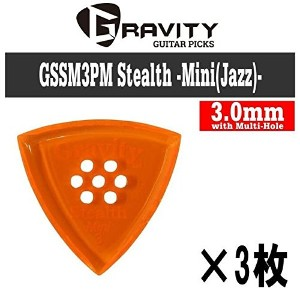 【3枚セット】GRAVITY GUITAR PICKS GSSM3PM Stealth -Mini(Jazz)- [3.0mm with Multi-Hole/Orange] アクリル ピック