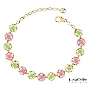 14K Yellow and Pink Gold Plated over .925 Sterling Silver Flower Bracelet Designed by Lucia Costin...