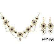 14K Yellow Gold Plated over .925 Sterling Silver Jewelry Set: Necklace and Earrings by Lucia Costin...