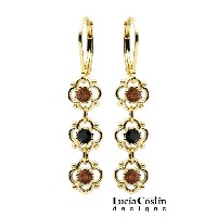 European Inspired Sterling Silver with 24K Yellow Gold Plated Dangle Earrings by Lucia Costin with...