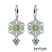 Feminine Dangle Flower Earrings by Lucia Costin with Twisted Lines and Mint Blue Swarovski Crystal...