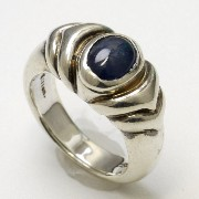 Lien 130Rb ブルーサファイア カレッジ調 シルバーリング 11号 Sterling Silver 925 Blue Sapphire Ring #11