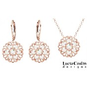 Lucia Costin 24K Pink Gold over .925 Sterling Silver Pendant and Earrings Set with Filigree...