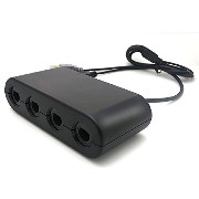 Wii U & PC用ゲームキューブコントローラ接続タップ 4ポット付 0.9mケーブル ブラック GameCube Controller Adapter for Wii U & PC [video...