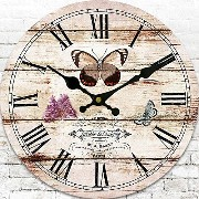 """LOVE(TM)12inch Wooden Clock Shabby Chic Retro Roman Numeral""""Butterfly"""" Pattern Wooden Wall Clock..."""