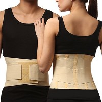 Medical Grade LUMBAR SUPPORT BRACE, Back Belt with Stiff Splints & Double Pull Straps (Medium) by...