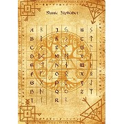 Runic Alphabet parchment poster wicca pagan print art witch magick runes ルーン文字のアルファベット羊皮紙のポスターウィッカの異...