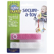 Baby Buddy ベビー バディ Secure-A-Toy 2ct おもちゃストラップ2色各1本組 【アメリカ製】 Pink&White ピンク&ホワイト