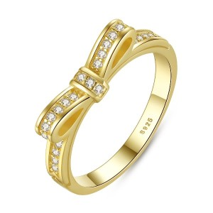 WOSTU リボンモチーフリング ブリンブリンゴルードメッキ Sweet Bow Silver Ring with Clear Cubic Zircon(14K Gold Plated)
