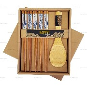 Happy Sales Bamboo Chopsticks Gift Set Rice Paddle Included Great Wave by Happy Sales