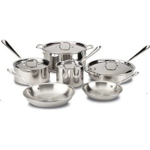 All-Clad 401488R Stainless Steel Tri-Ply Bonded Dishwasher Safe Cookware Set, 10-Piece, Silver ...