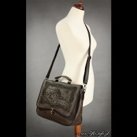 BRIEFCASE A4-MAP BROWN スチームパンクゴシック地図バッグ