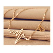 Cute Heart Beat Pendant Necklace Metal Alloy with Chain Made