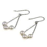 nadi 3.5-4.0mm K18WG アコヤ真珠 ベビーパール チェーンピアス 18K White Gold Baby Akoya Cultured Pearl Chain Earrings