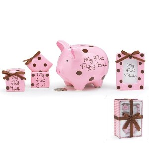4 Piece Baby Girl Gift Set With Piggy Bank,First Curl, First Tooth,Photo Frame.Great Keepsake Gift...