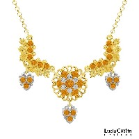Lucia Costin Necklace Made of 24K Yellow Gold Plated over .925 Sterling Silver with Leaf and Flower...
