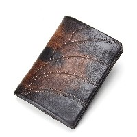 Contacts Vintage Men's Short Wallet Genuine Cow Leather Thin Money Purse