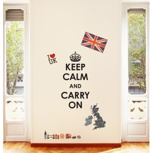 DW-1309, Decowall, Keep Calm and Carry On & ユニオンジャックのピール&スティック壁デカールステッカー