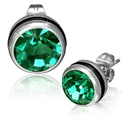 Stainless Steel Black Silver-Tone Round Classic Green CZ Stud Earrings