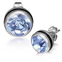 Stainless Steel Black Silver-Tone Round Classic Violet Purple CZ Stud Earrings