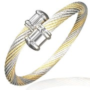 Stainless Steel Two-Tone Twisted Cable Rope Open End Bangle Bracelet