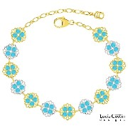 Handmade in USA Link Bracelet by Lucia Costin with Turquoise Swarovski Crystals, Filigree Ornaments...