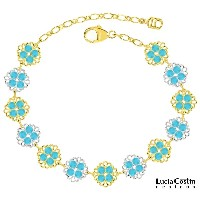 Handmade in USA Link Bracelet by Lucia Costin with Turquoise Swarovski Crystals, Filigree Ornaments and Dots; 24K Yellow Gold Plated over .925 Sterling...