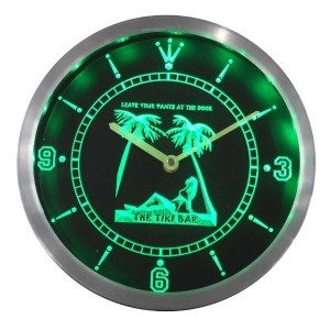 LEDネオンクロック 壁掛け時計 nc0384-g OPEN Tiki Sex Bar Leave Pants Beer Neon Sign LED Wall Clock