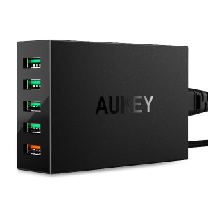 AUKEY USB充電器 ACアダプター Quick Charge 3.0 搭載 スマホ充電器 55.5W 5ポート 5台同時充電可能 usb急速充電器 iPhone、Android各種対応 PA...