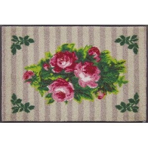 wash+dry Country Roses beige 薄型で丈夫な洗える玄関マット 50×75cm