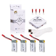 Holy Stone 3.7V 650mAh Lipo 4in1充電器1個とバッテリー4個セット バッテリー For Holy Stone HS200 過充&放電保護機能付 2.5A 急速充電...
