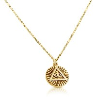Illuminati All Seeing Eye of Providence Circle Pendant Necklace 14k Gold Plating Over 925 Sterling...