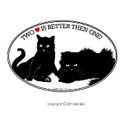 TWO IS BETTER THEN ONE Cat Feline Bumper Sticker for Cat Lovers- - 猫Lovers-用ビニール猫バンパーステッカーデカール -...