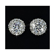 Multi Prongs 8mm 2ct Top Quality Swiss Cubic Zirconia Diamond Stud Earring