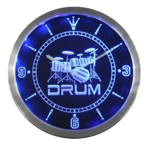 LEDネオンクロック 壁掛け時計 nc0406-b Band Room Drum Rock n Roll Music Neon Sign LED Wall Clock