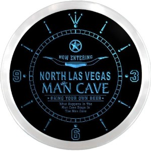 LEDネオンクロック 壁掛け時計 ncpb2143-b NORTH LAS VEGAS Man Cave Cowboys Beer Pub LED Neon Sign Wall Clock