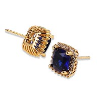 Aida Misa September Birthstone Sapphire Jewelry 24K Yellow Gold Plated Stud Earing Geometry...