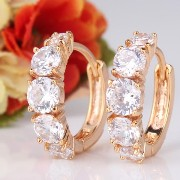 Aida Misa Hot Items 18K Gold Plated Hoop Earrings Round Crystal Attractive Wedding Earring Fashion...