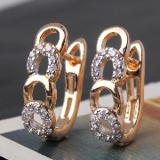 Aida Misa New style 18k gold filled desirable earrings round cut white topaz chic woman huggie hoop...