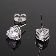 Aida Misa Hot New 2015 Fashion Western Luxurious Heart Earring Stud Trendy 18k White Gold Plated...