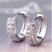 Aida Misa Fashion Earrings 2015 Chic 18K White Gold Filled Gem Rhinestone Zirconia Earings Party...