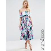 ASOS エイソス PETITE 小さいサイズ Off The Shoulder Midi Prom Dress ドレス ワンピース In Bright Purple Floral