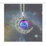 Choker Necklace Glass Galaxy Lovely Pendant Silver Chain Moon Necklace (Picture 3)